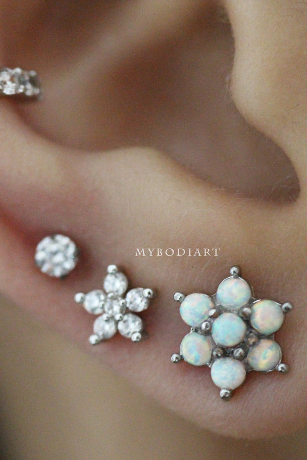 ute Crystal Flower Ear Piercing Jewelry Ideas for Women for Cartilage, Helix, Tragus, Conch Earring Stud - www.MyBodiArt.com