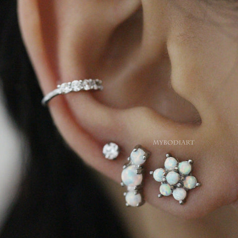 Cute Opal Flower Ear Piercing Jewelry Ideas Cartilage Helix Conch Tragus Earring Stud 16G - www.MyBodiArt.com