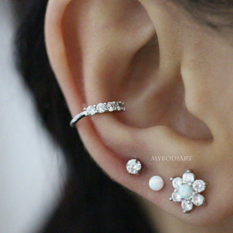 Cute Multiple Ear Piercing Jewelry Ideas for Women Opal Ball Earring Stud 16G Silver - www.MyBodiArt.com