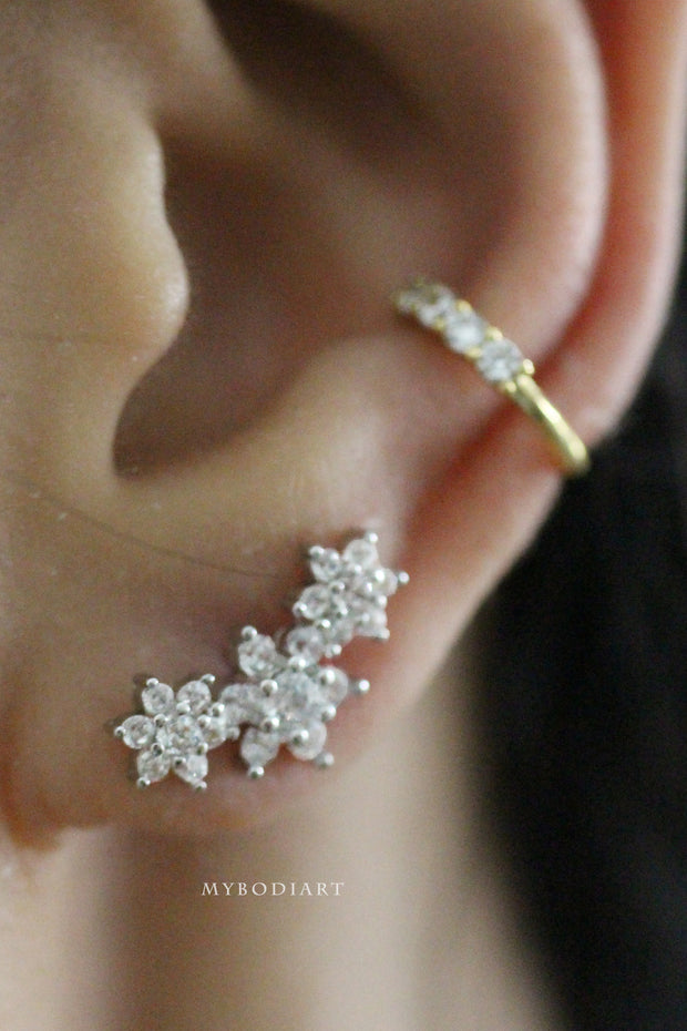 Beautiful Triple Crystal Flower Ear Piercing Jewelry Ideas for Women for Cartilage, Helix, Conch Earring - www.MyBodiArt.com