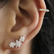 Dainty Simple Cartilage Helix Ear Piercing Jewelry Ideas for Women - Gold Crystal Earring Cuff 16G - www.MyBodiArt