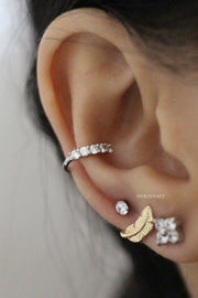 Simple Conch Ear Piercing Jewelry Ideas Silver Crystal Earring Cuff - www.MyBodiArt.com