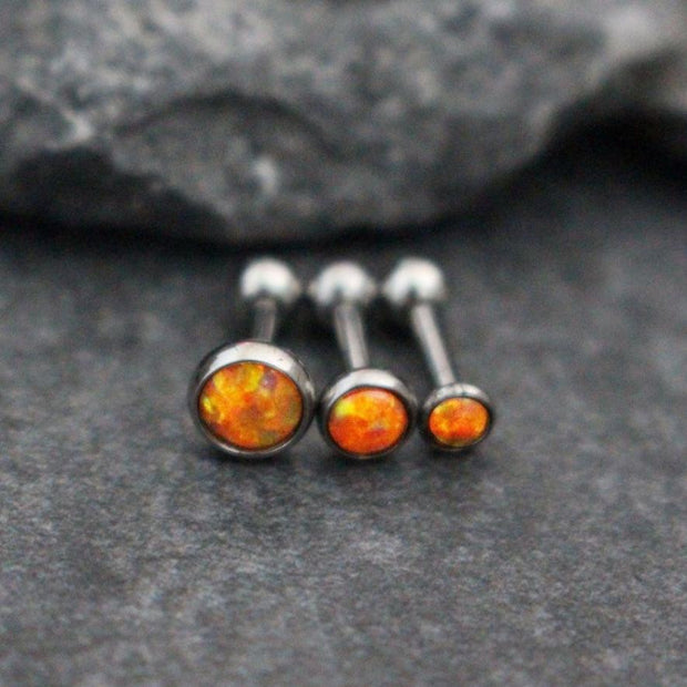 Opal Orange Tragus Stud, Cartilage Earring, Helix Jewelry, Conch Piercing, Tragus Barbell, Cartilage Stud, Conch Barbell, Tragus Earring, Cartilage Piercing, Forward Helix, Triple Helix.
