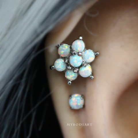Cute Flower Opal Double Cartilage Helix Ear Piercing Jewelry Ideas for Women - www.MyBodiArt.com