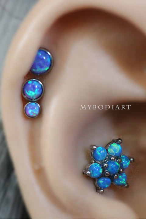 Cute Multiple Opal Flower Cartilage, Helix, Tragus, Conch Ear Piercing Jewelry Ideas for Women - www.MyBodiArt.com