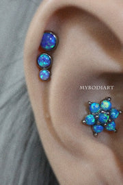 Unique Blue Opal Flower Conch Cartilage Helix Ear Piercing Jewelry Ideas for Women - www.MyBodiArt.com