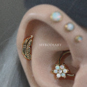 Opal Flower Daith Ear Piercing Jewelry Ideas for Women - www.MyBodiArt.com #piercings