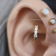 Cute Rook Piercing Jewelry Hoop Ear Ideas for Women Gold Earring -  ideas de joyería piercing del oído - www.MyBodiArt.com