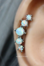 Unique Edgy 5 Opal Cartilage Helix Ear Piercing Ideas Jewelry Stud Earring 16G - www.MyBodiArt.com