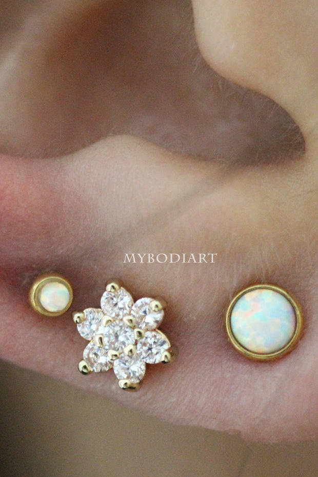 Classy Ear Piercing Ideas Cute Crystal Flower Triple Earlobe Cartilage Helix Conch Tragus Earring Stud in Gold 16G - www.MyBodiArt.com