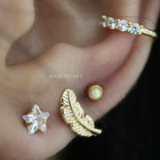 Cute Gold Multiple Ear Piercing Jewelry Ideas for Women - Gold Feather Leaf Earring Stud for Cartilage, Helix, Conch, Tragus - www.MyBodiArt.com