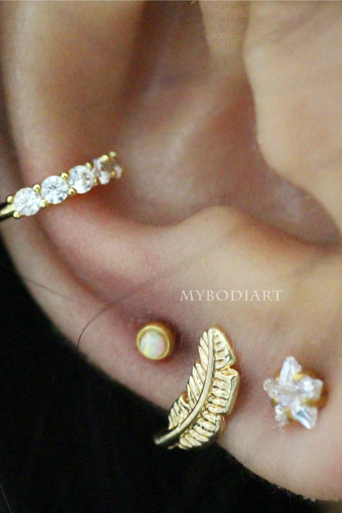 Arie Small Leaf Ear Piercing Jewelry 16G Earring Studs