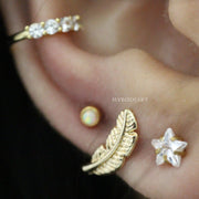 Cute Ear Piercing Jewelry Ideas for Women Cartilage Helix Tragus Earlobe Conch Gold Star Earring Stud 16G - www.MyBodiArt.com #piercings