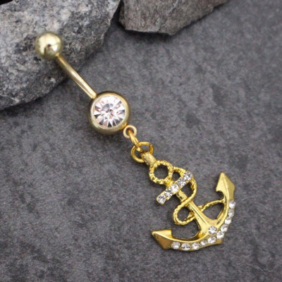 Golden Anchor Belly Button Jewelry