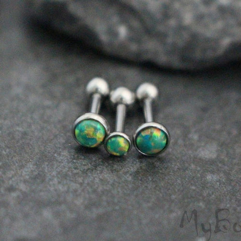 Dazzle Opal Ear Piercing in Lime Green