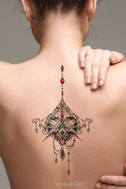 Beautiful Tribal Boho Mandala Lotus Chandelier Back Temporary Tattoo Ideas for Women - www.MyBodiArt.com