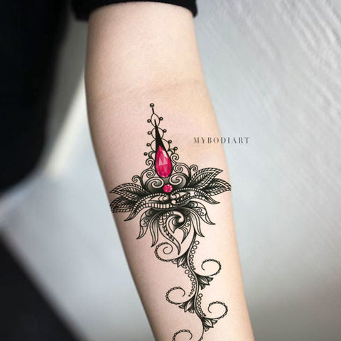 Beautiful Tribal Boho Mandala Lotus Chandelier Forearm Temporary Tattoo Ideas for Women - www.MyBodiArt.com