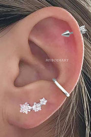 Cute Triple Star Constellation Cartilage Helix Ear Piercing Jewelry Ideas for Women - www.MyBodiArt.com