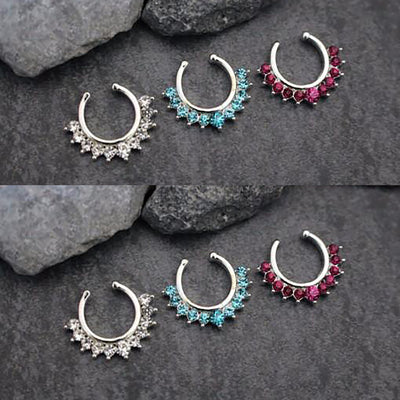 Crystal Silver Fake Septum Piercing Ring Jewelry - www.MyBodiArt.com