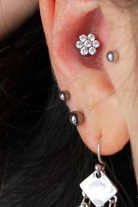 Cute Ear Piercing Ideas Conch - Crystal Flower Earring Stud 16G - Tragus Jewelry Double Lobe Jewellery - www.MyBodiArt.com