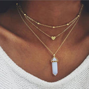 Opal Triple Layered Choker Heart Necklace - www.MyBodiArt.com