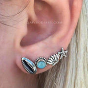 Cute Summer Ear Piercing Ideas for Women - Beach Earrings Seashell Starfish -  Idées mignonnes piercing oreille pour les femmes - www.MyBodiArt.com