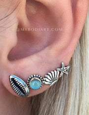Boho Vintage Beach Ear Piercing Ideas - Trendy & Unique  piercing de oreja de moda - Seashell Starfish Turquoise Cartilage Tragus Helix Ear Lobe Earrings - www.MyBodiArt.com