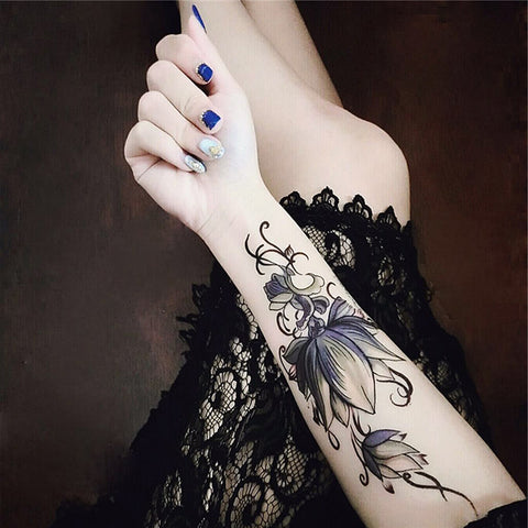 Flower Lotus Wrist Tattoo Ideas for Women - Tribal Boho Trendy Cool Unique Forearm Sleeve Tat - www.MyBodiArt.com