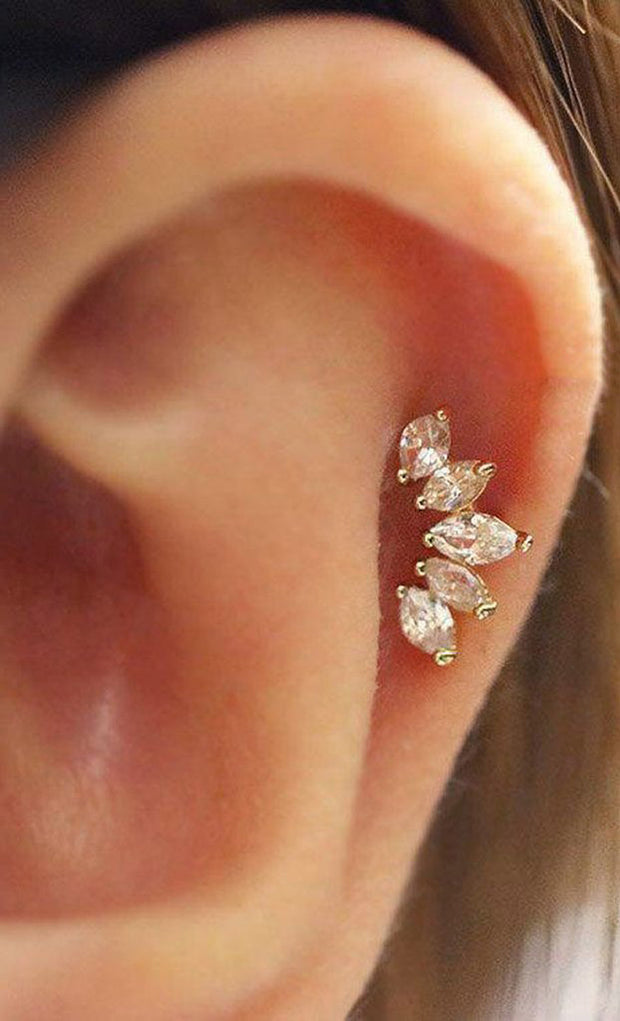 Cute Cartilage Ear Piercing Jewelry Ideas for Women - 5 Crystal Earring Stud -  lindas ideas para perforar orejas para mujeres - www.MyBodiArt.com