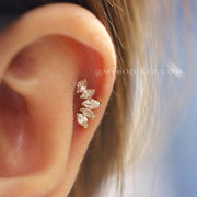 Cute Ear Piercing Ideas Cartilage for Teenagers - Crystal Helix Earring Stud 16G -  www.MyBodiArt.com