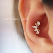 Cute Conch Ear Piercing Jewelry Ideas for Women - 5 Crystal Earring Stud -  lindas ideas para perforar orejas para mujeres - www.MyBodiArt.com