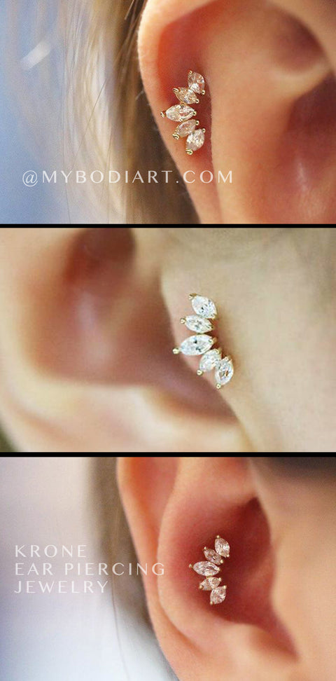 Class Multiple Ear Piercing Ideas Cartilage Tragus Conch Earring Stud Jewelry - www.MyBodiArt.com y