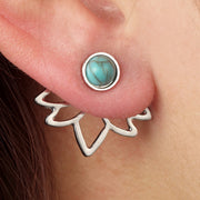 Boho Ear Piercing Ideas for Women - Turquoise Trendy Modern Ear Jacket Earrings - www.MyBodiArt.com #earrings