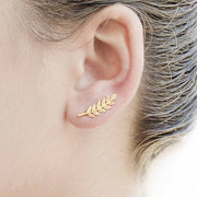 Ear Piercing Ideas at MyBodiArt.com - Gold Feather Leaf Earring Climber