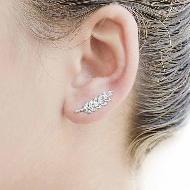 Classy Ear Piercing Ideas - Leaf Ear Climber Earring Jewelry at MyBodiArt.com