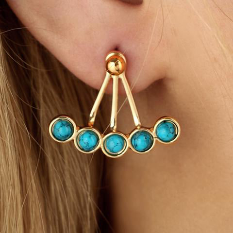 Boho Bohemian Chic Ear Piercing Ideas - Korwa Turquoise Ear Jacket Earring in Silver & Gold  - MyBodiArt.com
