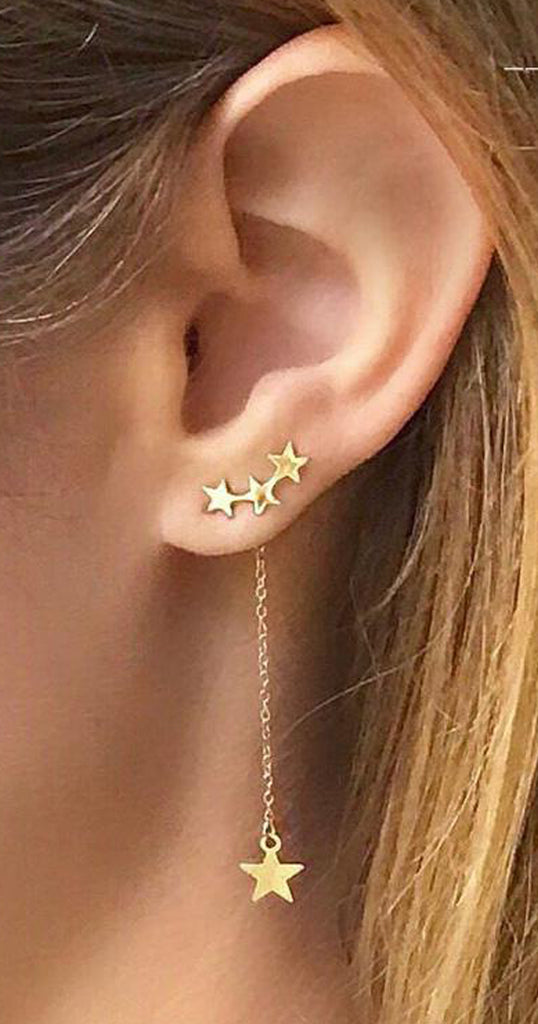 Lalala Triple Star Ear Climber Dangle Drop Earring in Gold
