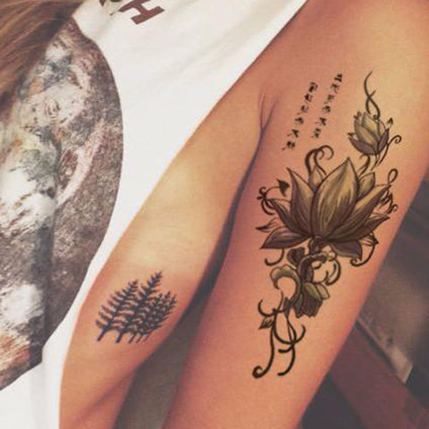 Cool Tribal Lotus Arm Sleeve Tattoo ideas for Women - www.MyBodiArt.com