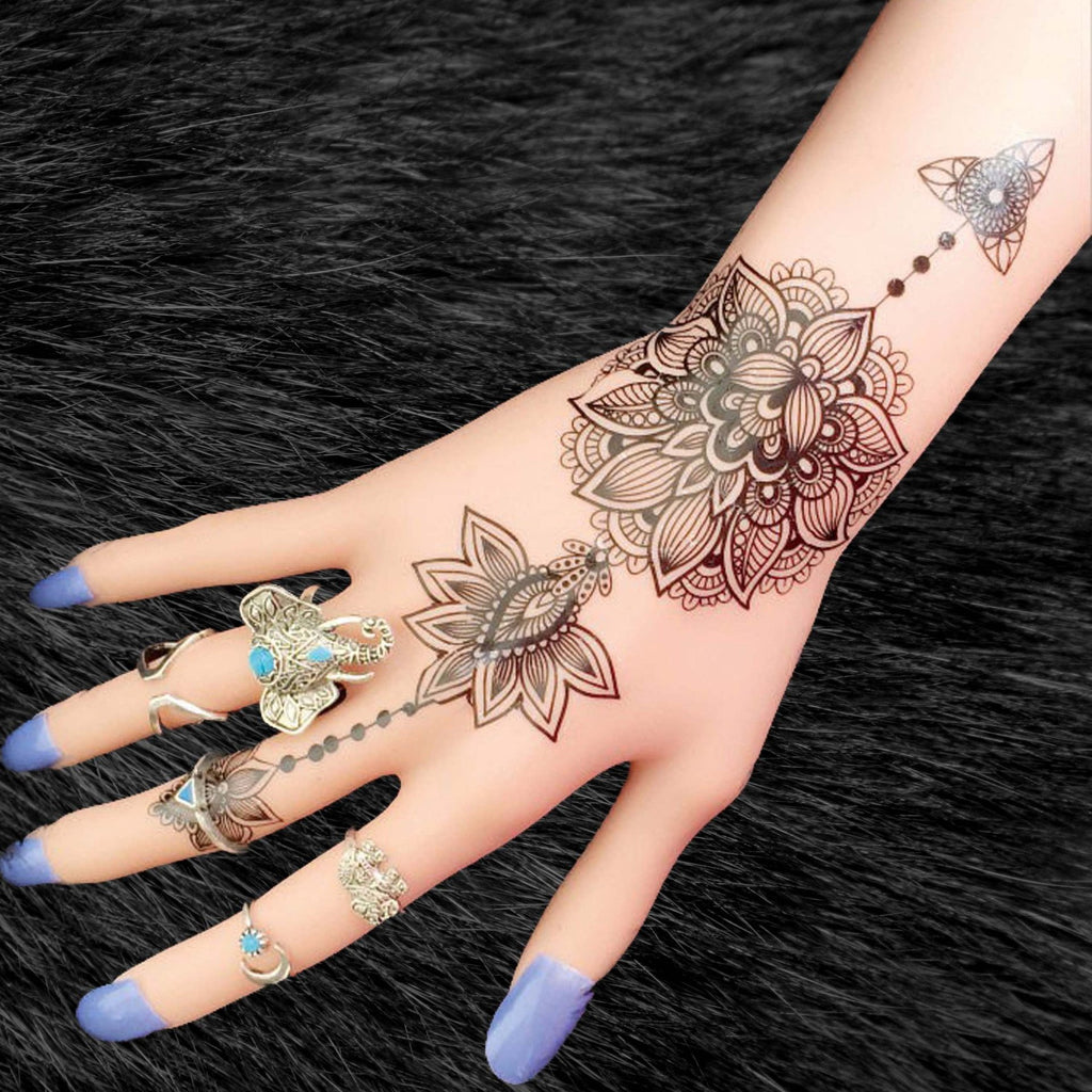 Black tribal lotus temporary tattoo boho tattoo mybodiart for Female hand tattoos