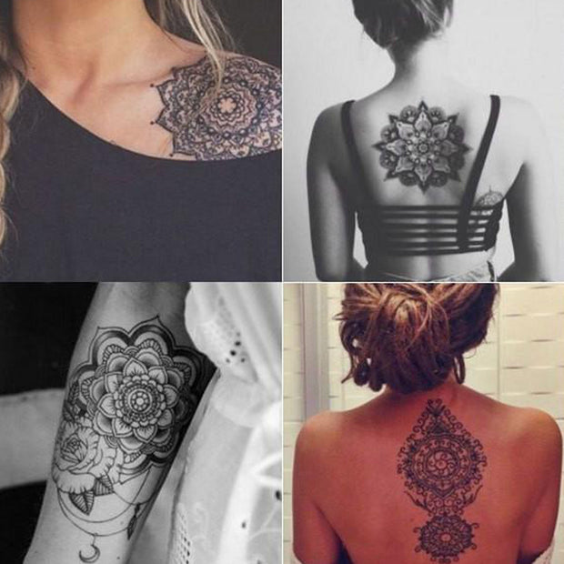 Tribal Boho Black Henna Mandala Shoulder Back Forearm Tattoo Ideas for Women - www.MyBodiArt.com