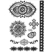 Popular Black Henna Boho Tribal Mandala Lotus Temporary Tattoo Ideas Sheet for Women -  Ideas de tatuajes temporales para mujeres - www.MyBodiArt.com