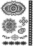Tribal Mandala Temporary Tattoos in Black Lace Henna at MyBodiArt