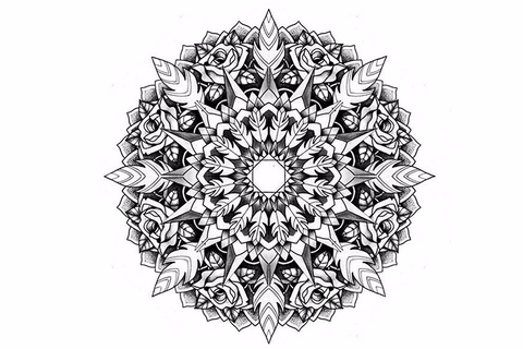 Tribal Mandala Temporary Tattoos in Black and White at MyBodiArt.com