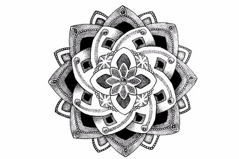 Black Henna Mandala Temporary Tattoo at MyBodiArt.com