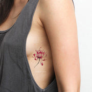 Cute Watercolor Lotus Small Floral Flower Rib Tattoo Ideas for Women -  Ideas del tatuaje del hombro de la flor para las mujeres - www.MyBodiArt.com