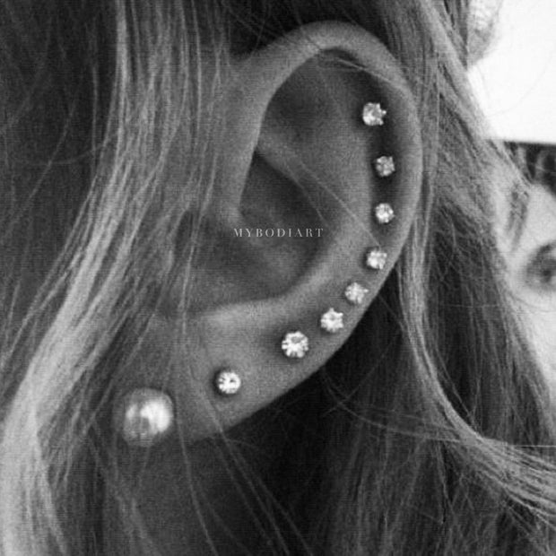 All the Way Around Cartilage Helix Ear Piercing Ideas for Women Round Crystal Earring Stud -  lindo piercing de cartílago ideas - www.MyBodiArt.com