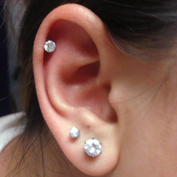 Simple Multiple Cartilage Earlobe Ear Piercing Jewelry Ideas for Women - www.MyBodiArt.com