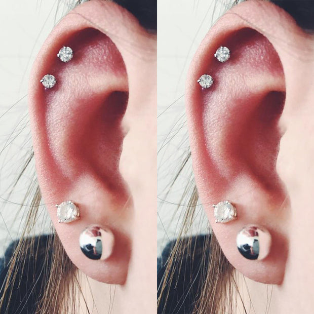 Cute Double Cartilage Ear Piercing Jewelry Ideas for Women Crystal Earring Studs - www.MyBodiArt.com