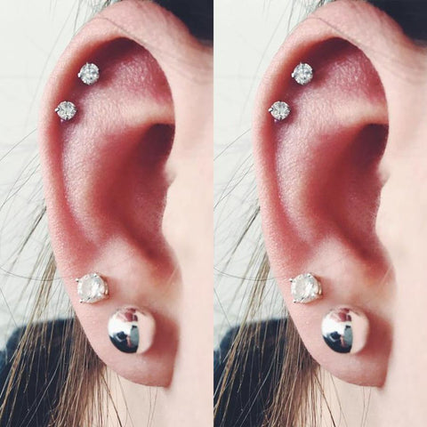 Cute Double Cartilage Helix Ear Piercing Jewelry Crystal Earring Studs 16G - www.MyBodiArt.com