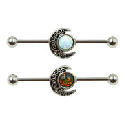 Opal Moon Industrial Ear Piercing Jewelry Scaffold Barbell Earring -  ideas de piercing de oreja para las mujeres - www.MyBodiArt.com